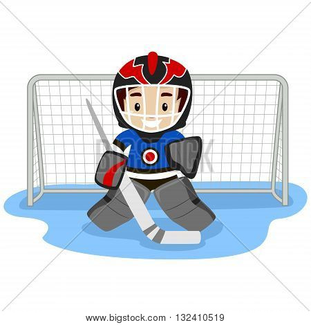 Vector Illustration of Playing Ice Hockey Player