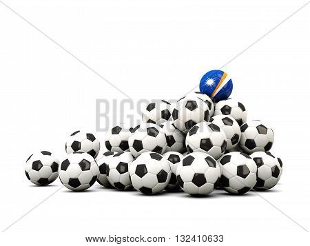 Pile Of Soccer Balls With Flag Of Marshall Islands