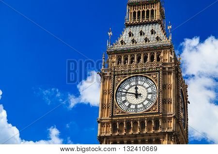 Close up Big Ben on Sunny Day London UK
