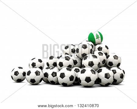 Pile Of Soccer Balls With Flag Of Norfolk Island