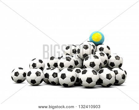 Pile Of Soccer Balls With Flag Of Palau