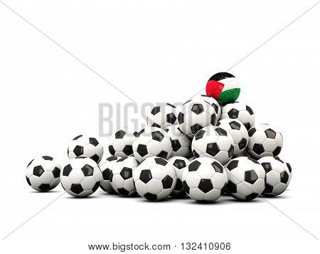 Pile Of Soccer Balls With Flag Of Palestinian Territory