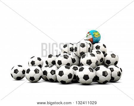 Pile Of Soccer Balls With Flag Of Saint Pierre And Miquelon
