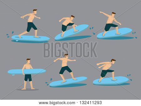 Set of six vector illustrations of a surfer riding sea waves on a surfboard isolated on plain grey background.
