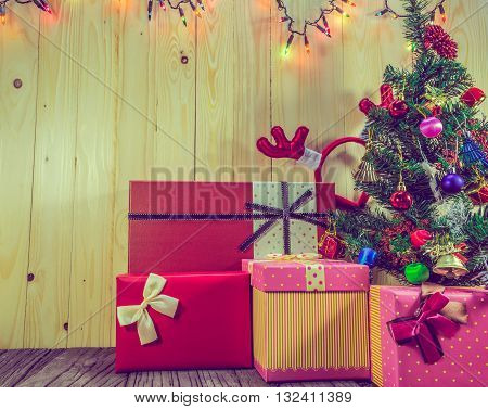 Christmas Ornaments On Wood Background.