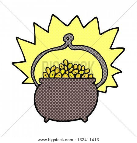 freehand drawn cartoon pot of gold
