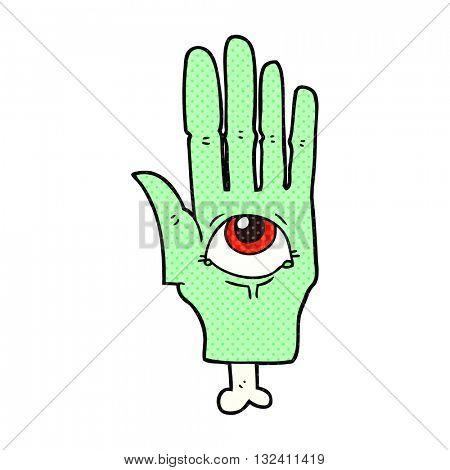 freehand drawn cartoon spooky eye hand