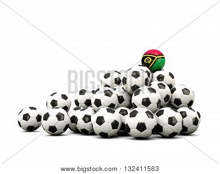 Pile Of Soccer Balls With Flag Of Vanuatu