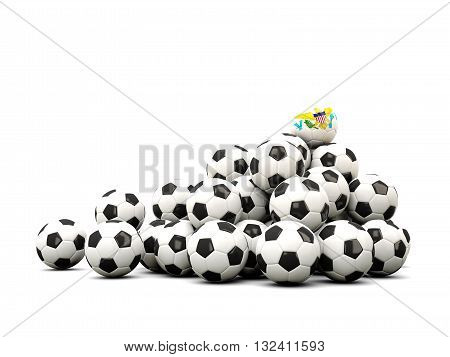 Pile Of Soccer Balls With Flag Of Virgin Islands Us