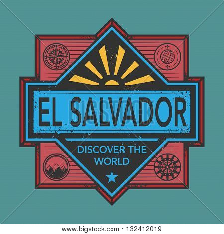 Stamp or vintage emblem with text El Salvador, Discover the World, vector illustration