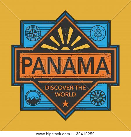 Stamp or vintage emblem with text Panama, Discover the World, vector illustration