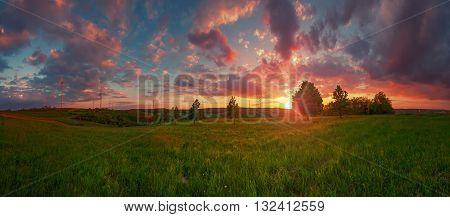 Wind turbines at the sunset, beautiful sky