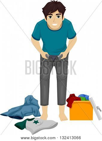 Illustration of a Teenage Boy Growing Out of His Clothes
