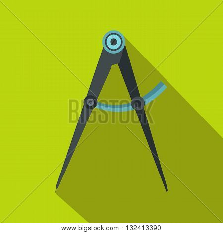Compass tool icon in flat style on a green background