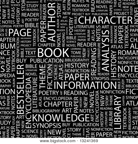 BOOK. Seamless vector pattern with word cloud. Illustration with different association terms.