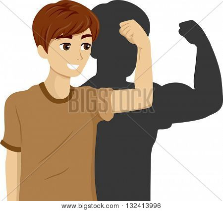 Illustration of a Teenage Boy Flexing His Bicep