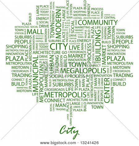 CITY. Word collage on white background. Illustration with different association terms.