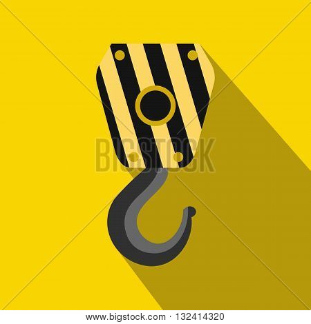 Crane hook icon in flat style on a yellow background