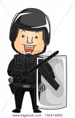 Illustration of a Riot Cop in Full Gear