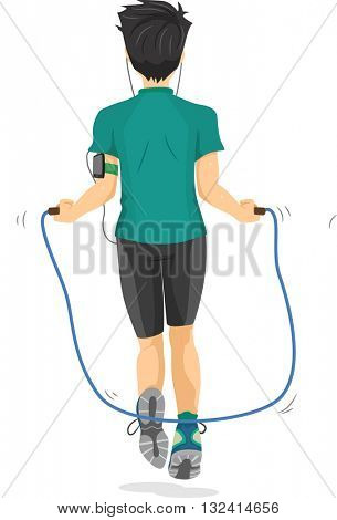 Illustration of a Teenage Boy Using a Jump Rope