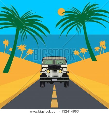 Off-road vehicle on the road, vector illustration