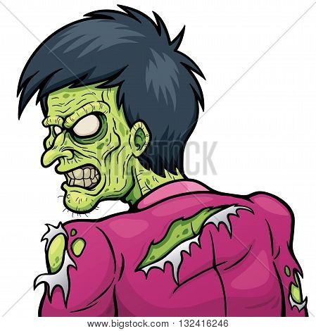 Vector illustration of Cartoon Angry Zombie character