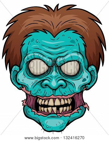Vector illustration of Cartoon Zombie face character