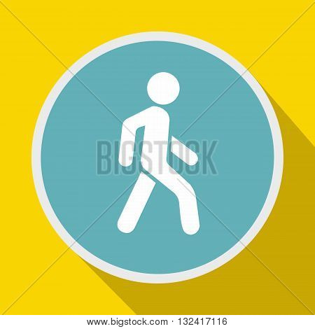 Pedestrians only road sign icon in flat style on a yellow background