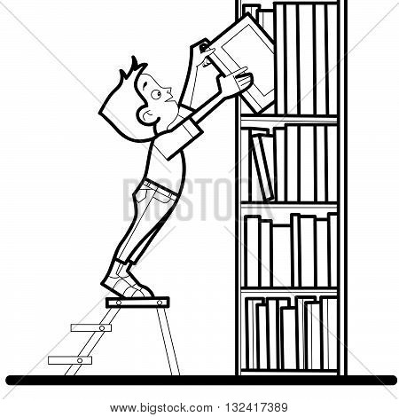 Boy book library reading line art caricature. The student takes the book from the bookshelf. Literature and education