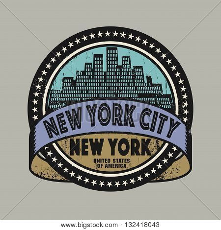 Grunge rubber stamp or label with name of New York, New York City, vector illustration