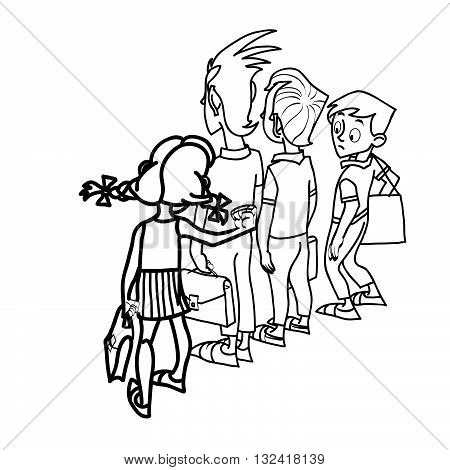 Children at school threat school life line art caricature