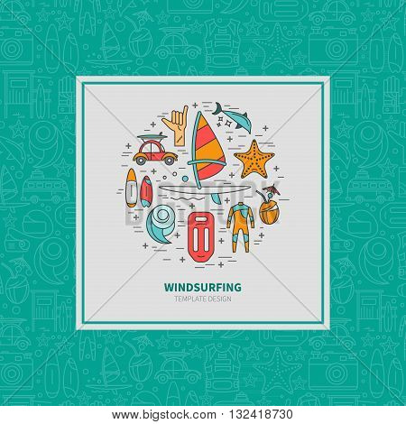 Vector linear design template labels and icons Windsurfing sailing. The concept of an active summer holiday. Family holiday