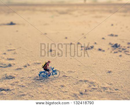 Image Of Mini Figure Dolls Biker On The Beach