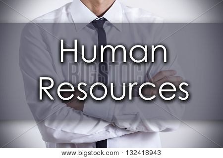 Human Resources - Young Businessman With Text - Business Concept