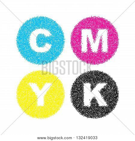 CMYK letters symbol set. Pointillism vector illustration