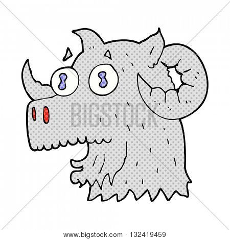 freehand drawn cartoon ram head