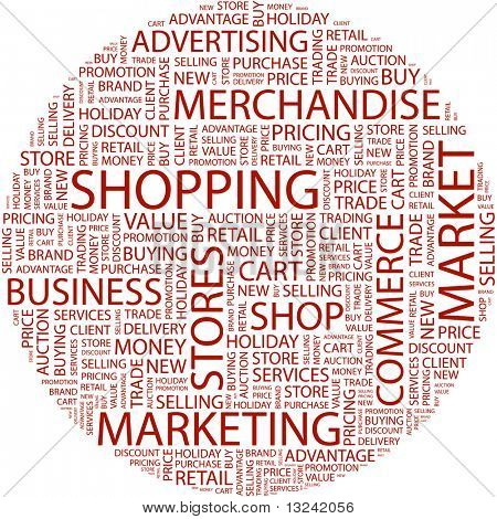 SHOPPING. Word collage on white background. Illustration with different association terms.