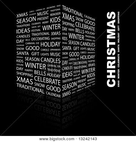CHRISTMAS. Word collage on black background. Illustration with different association terms.