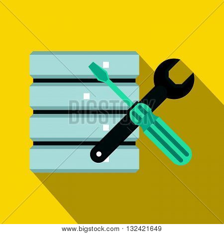 Database with screwdriverl and spanner icon in flat style on a yellow background