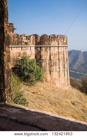The Jaigarh fort in the city of Amber or Amer near the Amber Palace and close to Jaipur Rajasthan India