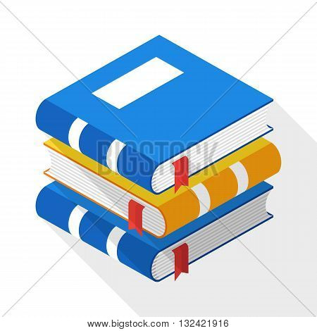 Vector Book icon in flat style with long shadow on white background