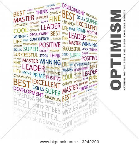OPTIMISM. Word collage on white background. Vector illustration.