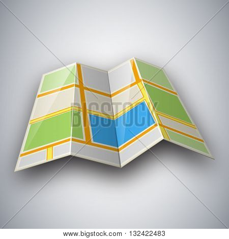 Vector illustration of street map. Abstract city map icon with shadow isolated on light grey background