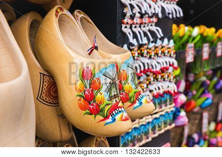 Traditional wooden shoes, or clogs, are a popular souvenir in the Netherlands