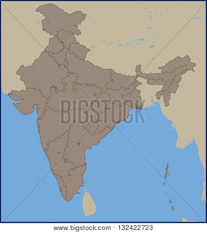 Illustration of a Empty Political Map of India