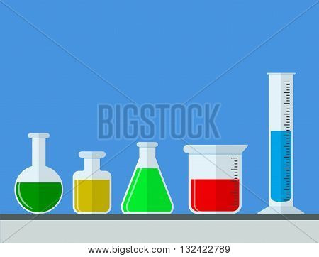 test tubes. Laboratory glassware with colorful liquid. Science, education, chemistry, experiment, laboratory concept. vector illustration in flat design icon with long shadow