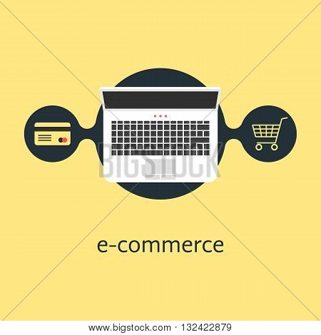 ecommerce with credit card laptop and shopping cart. concept of merchant, finance, banking, on-line supermarket. isolated on yellow background. flat style trendy modern design vector illustration