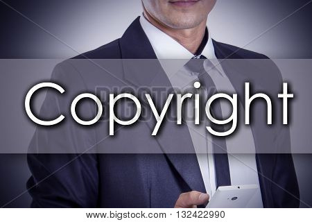 Copyright - Young Businessman With Text - Business Concept