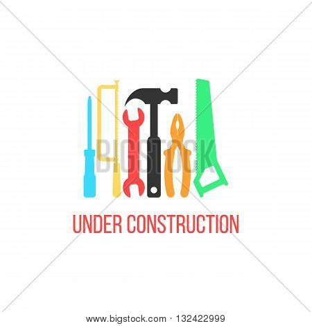 under construction logotype with colored tools. concept of industry, signboard, engineering problem, refit. isolated on white background. flat style trendy modern logo design vector illustration