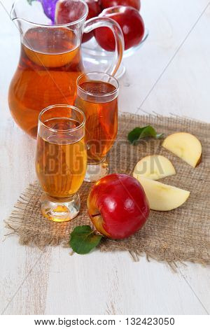 Apple Juice And Fresh Red Apples